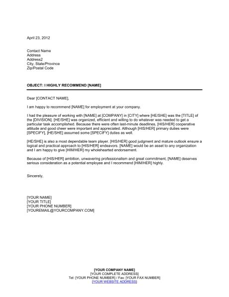 employment reference letter template business