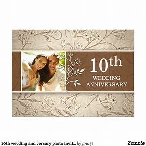 10th wedding anniversary photo invitations zazzle With 1 year wedding anniversary invitations