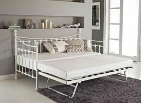 versatile ivory metal guest day bed frame  trundle