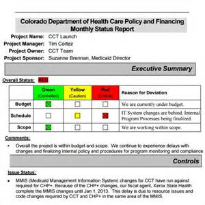 sample  project status report templates