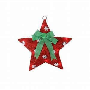 17, U0026quot, Lighted, Red, And, Green, Sisal, Hanging, Christmas, Star, Window, Decoration, With, Bow