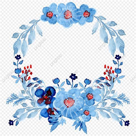 blue watercolor floral wreath watercolor floral hand