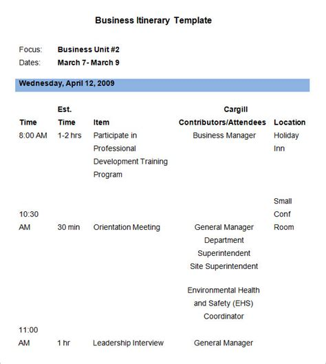 business travel itinerary template 9 business itinerary template doc pdf excel free premium templates