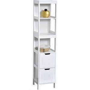 Meuble Colonne Tiroir : meuble colonne de salle de bain 3 tag res et 2 tiroirs blanc blanc achat vente colonne ~ Teatrodelosmanantiales.com Idées de Décoration