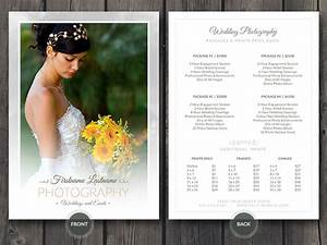 wedding photographer price guide card psd template by With templates for wedding photographers