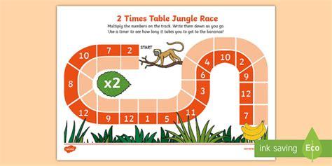 2 times table jungle race worksheet activity sheet