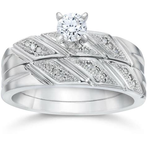 1 5ct diamond engagement ring matching wedding band 10k white gold ebay