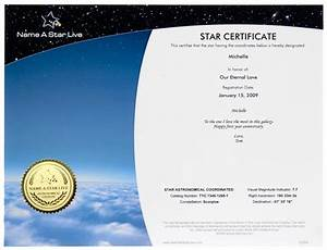 Star Naming Certificate Template Name A Live Buy Explore Space Together