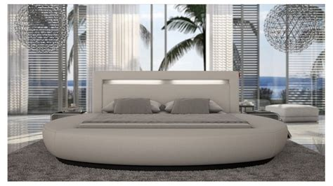 lit moderne rond simili cuir blanc kovel avec lumiere  cm gdegdesign
