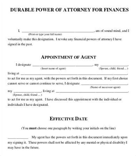 power of attorney form free printable 9 free word pdf documents free premium