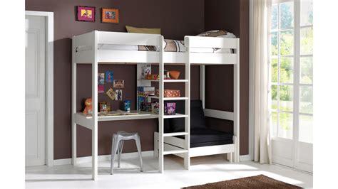 bunk beds with stairs and lit mezzanine avec bureau et fauteuil en pin massif