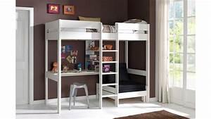 Lit Avec Bureau : lit mezzanine avec bureau et fauteuil alexis en pin massif so nuit ~ Teatrodelosmanantiales.com Idées de Décoration