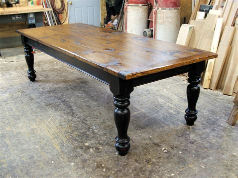 Pine Farmhouse Table with Options   Black over Red Base