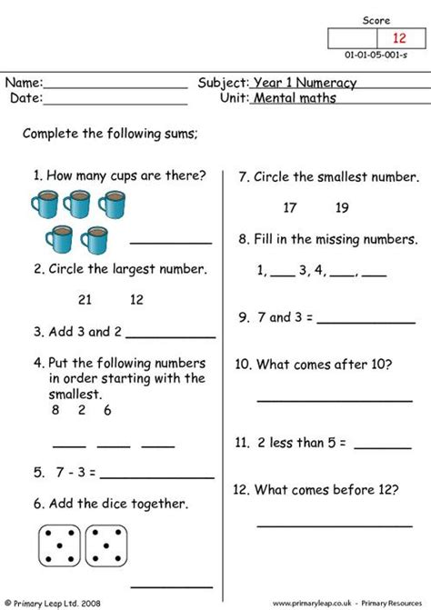 mental maths 1 primaryleap co uk