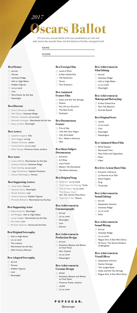 oscar ballot printable oscars ballot 2017 popsugar entertainment