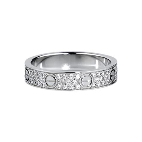 cartier love wedding band diamond paved white gold ring tradesy