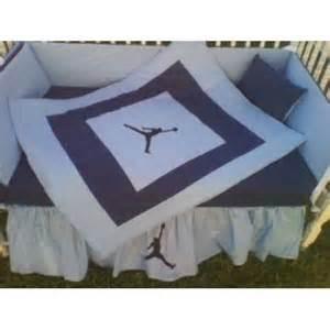 michael jordan baby blue and navy blue crib bedding set
