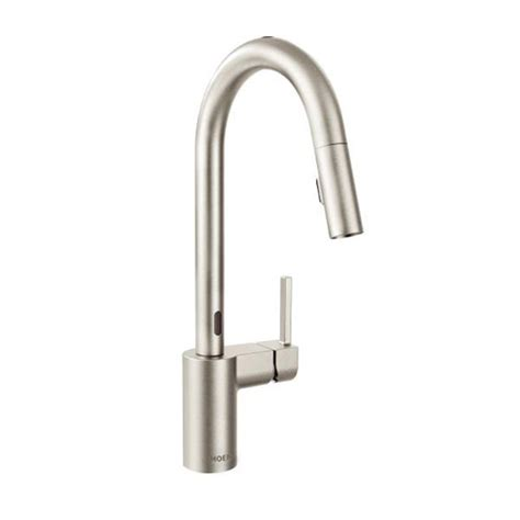 moen motionsense kitchen faucet moen 7565esrs align one handle high arc motionsense pulldown kitchen faucet spot resist