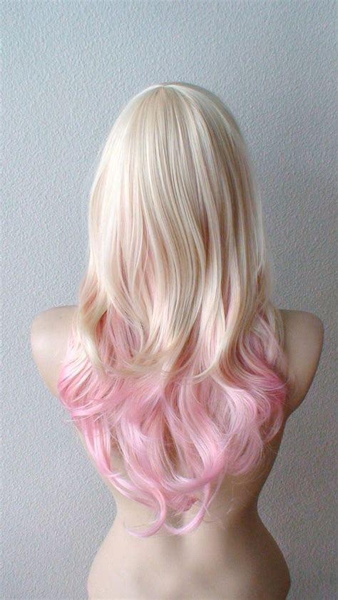 Blonde Pink Ombre Wig Pastel Pink Hair Curly Hairstyle