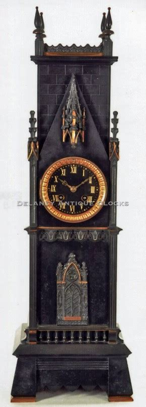 french  mantel clock   form   gothic tower