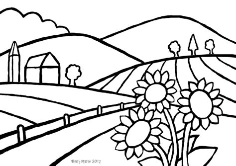 Coloring Pemandangan by And Lore How To Draw A Country Landscape Cara