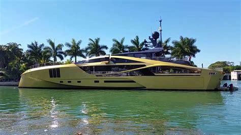 Boat R Miami by Palmer Johnson Gold Mega Yacht Visits Miami