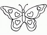 Butterfly Coloring Printable Butterflies Simple Filminspector Outline Heart Flower Templates Hearts sketch template