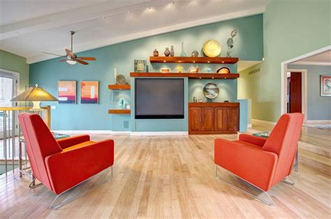 sherwin williams aqua sphere paint turquoise accent wall living room living room green