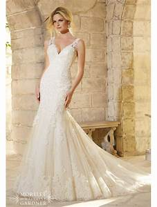 mori lee 2773 lace straps fitted wedding dress light gold With fitted lace wedding dress