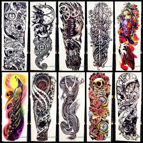 Waterproof Full Arm Tattoo Sticker Rose Clock Skull Sword