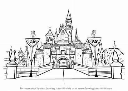 Castle Disneyland Draw Step Drawing Castles Learn
