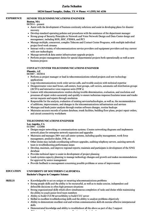telecommunications engineer resume samples velvet jobs