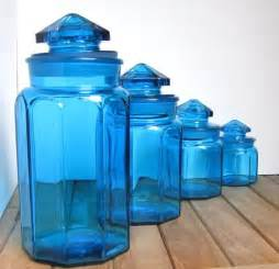 Blue Kitchen Canister Set Set Of 4 Vintage Blue Glass Canisters