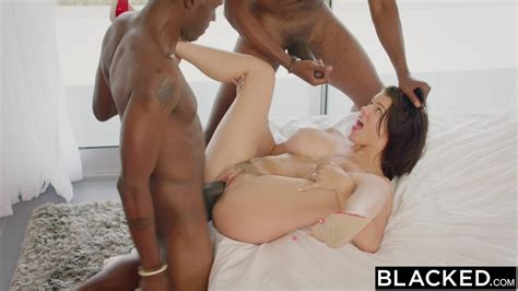 beautiful busty brunette wife takes on two black cocks in threesome fuck porndoe