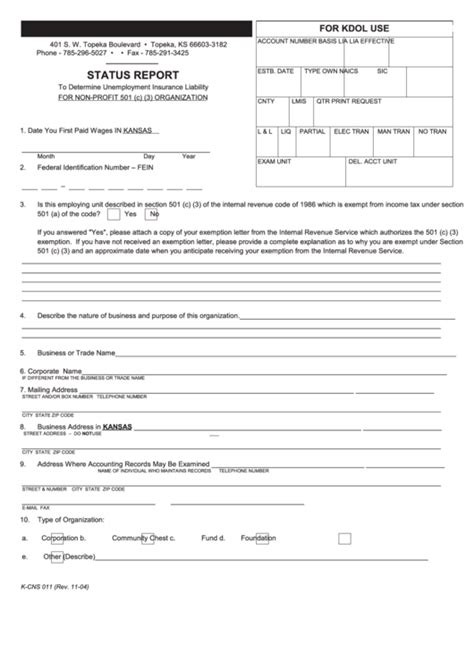 Why do you need united states liability insurance company? Form K-Cns 011 - Status Report - Kansas Department Of Labor printable pdf download