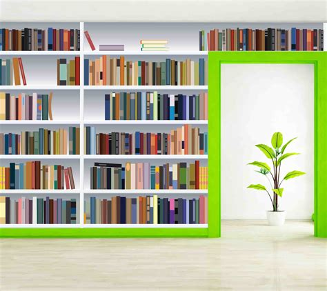Bookcase Wall Paper by Brand New Wall Murals Wallpaper Ink