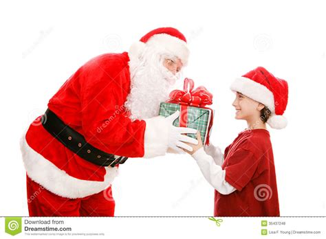 little boy gets gift from santa stock photo image 35437248