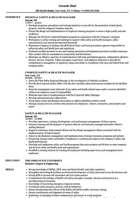 Safety Manager Resume by Safety Health Manager Resume Sles Velvet