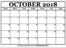 Printable October 2018 Calendar Templates 123CalendarsCom