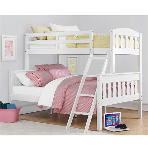 dorel home furnishings airlie white twin  full bunk bed