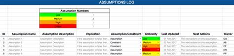 raid log template assumptions expert program management