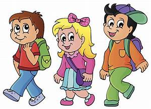 Kids Walking To School Clipart - ClipartXtras