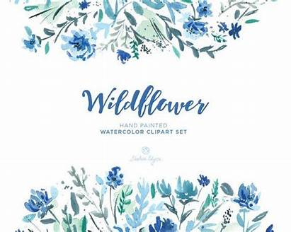 Clipart Watercolor Floral Wildflower Teal Clip Navy