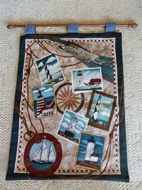 nautical tapestry wall hanging lighthouses ships 26 quot 35 1 2 quot ebay