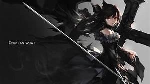 4567659, Black, Dress, Sword, Long, Hair, Pixiv, Fantasia, T, Twintails, Anime, Anime, Girls