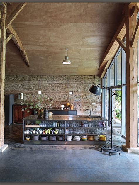 rustic industrial kitchen  elle decoration country uk          pinterest