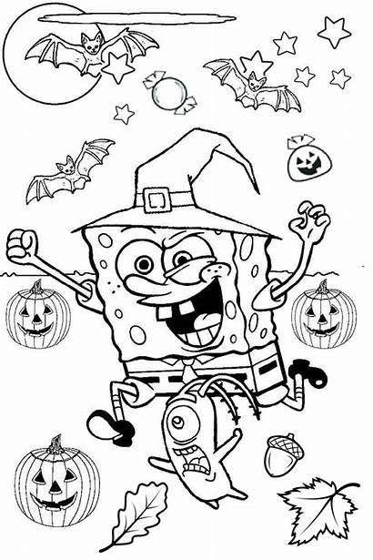 Coloring Pages Spongebob Halloween Scary Pumpkin Bats