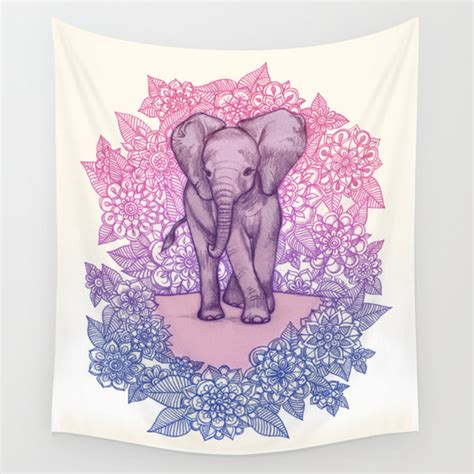 cute baby elephant in pink purple blue wall tapestry