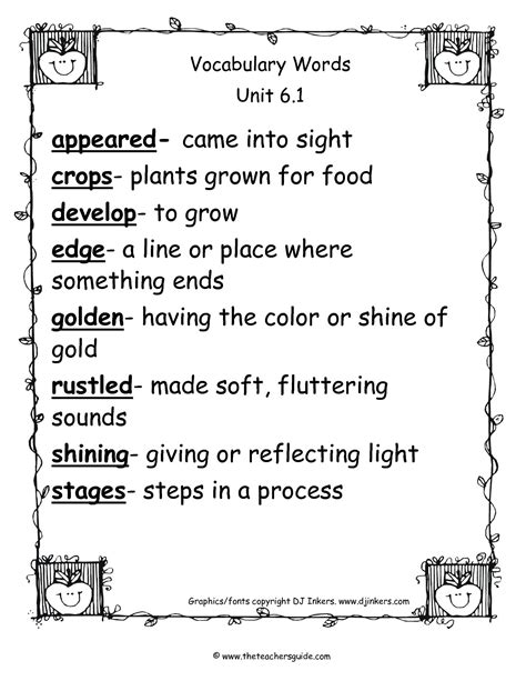 Vocabulary Words For 6th Graders With Definitions  Common Core Vocabulary For Middle School