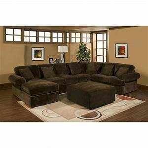 3 pc sectional sofa with chocolate plush velour microfiber for Challenger chocolate 2 pc sectional sofa reviews